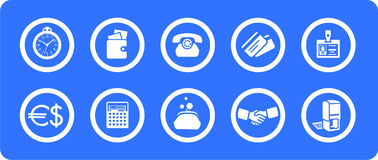 Economics  icons set. In white and blue colors Royalty Free Stock Photo