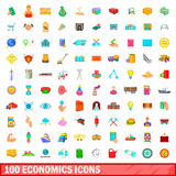 100 economics icons set, cartoon style. 100 economics icons set in cartoon style for any design vector illustration Royalty Free Stock Photo