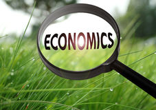 Economics. Magnifying glass with the word economics on grass background. Selective focus royalty free stock photo