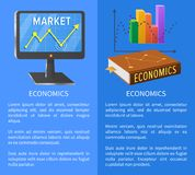 Economics Market Poster with Screen Showing Arrow Stock Photo