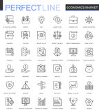 Economics market thin line web icons set. Outline stroke icons design. Economics market thin line web icons set. Outline stroke icons design Stock Photography