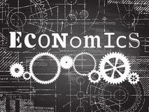 Economics Blackboard Tech Drawing. Economics sign and gear wheels technical drawing on blackboard background Stock Photos
