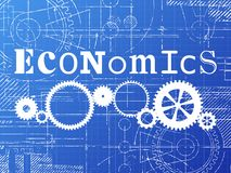 Economics Blueprint Tech Drawing. Economics sign and gear wheels technical drawing on blueprint background Stock Photo