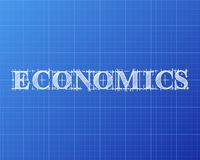 Economics Word Blueprint. Economics text hand drawn on blueprint background Royalty Free Stock Images
