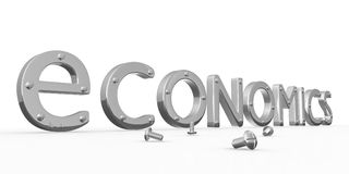 Economics word. Chromium economics word on white background Royalty Free Stock Photography