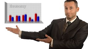 economie Zakenman en grafiek stock video