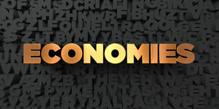 Economies - Gold text on black background - 3D rendered royalty free stock picture Stock Image