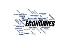 ECONOMIES - word cloud wordcloud - terms from the globalization, economy and policy environment Stock Photos