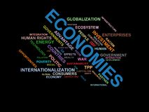 ECONOMIES - word cloud wordcloud - terms from the globalization, economy and policy environment Stock Photo