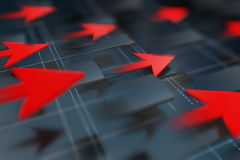 Economische indicatoren en beweging vooruit met de pijl Royalty-vrije Stock Foto's