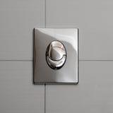 Economische toilet gelijke knop stock fotografie