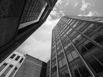 Economist Building in London black and white. LONDON, UK - CIRCA JUNE 2017: The Economist Building iconic new brutalist architecture designed by the Smithsons in Royalty Free Stock Image