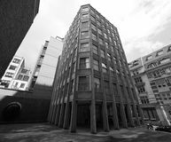 Economist Building in London black and white. LONDON, UK - CIRCA JUNE 2017: The Economist Building iconic new brutalist architecture designed by the Smithsons in Stock Image