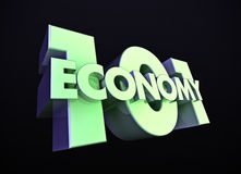 Economy 101. The 3D rendering of the the title Economy 101 with green lighting royalty free illustration