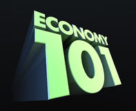 Economy 101. The 3D rendering of the the title Economy 101 with green lighting Stock Photography