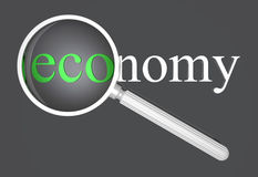 ECOnomy. A loupe magnifying the eco part of the word economy. image has a DOF, focus is on the word Stock Images