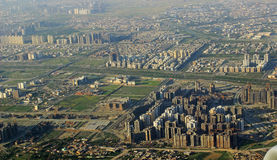 Economy Booming Modern Sky Scraper Construction Ne. Aerial view of  New Delhi NOIDA area India-  depicting the booming construction activity of High rise Royalty Free Stock Image