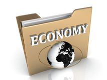 ECONOMY bright white letters on a golden folder Royalty Free Stock Image