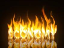 Economy Burning. The Text Economy with Burning Flames stock illustration