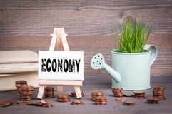 Economy business concept. Miniature watering pot with fresh green spring grass and small change Royalty Free Stock Photography