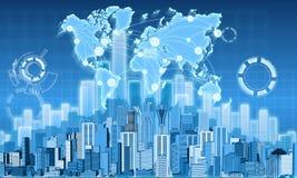 Economy city and chart profits Stock Photography