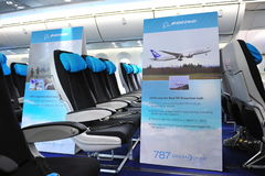 Economy class in Boeing 787 Dreamliner at Singapore Airshow 2012 Royalty Free Stock Photography