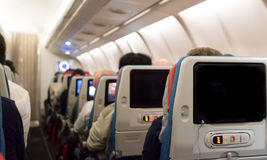 Economy class cabin. Stock Photos