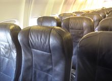 Economy Class seats for passengers on commercial aircraft. stock photography
