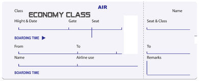 Economy class ticket for airplane Stock Image