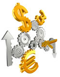 Economy cogs currency up and down Stock Images