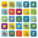 Economy color icons with long shadow Stock Photography