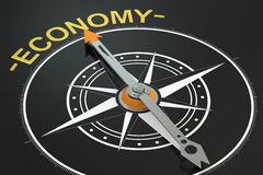 Economy compass concept. 3D rendering Royalty Free Stock Image