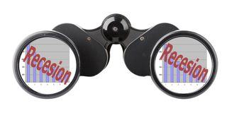 Economy concept binoculars. Binoculars with economy concepts in lenses Royalty Free Stock Photo