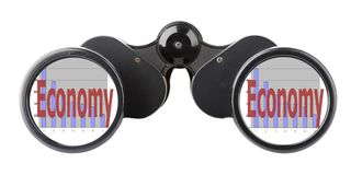 Economy concept binoculars Royalty Free Stock Images