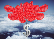 Economy concept. Dollar sign tied to red balloons in bright sky. Economy concept. 3D Rendering Stock Photos