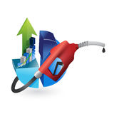 Economy concept with a gas pump nozzle Stock Photos