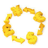 Economy concept. 4 types of currency symbol Stock Image