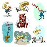 Economy crash. Hand drawn illustration Stock Image