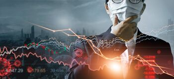 Economy crisis, Businessman with mask, Analysis corona virus economic impact, Crisis business and market financial conditions