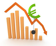 Economy Crisis Chart. Euro sign, down arrow chart and load, illustrate Financial Crisis in Europe stock illustration