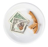 Economy crisis dollar currency concept with bread Stock Photos
