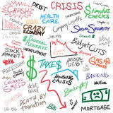 Economy Doodles. Recession economy and finance related doodles isolated over white Stock Photography