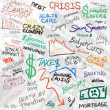 Economy Doodles. Recession economy and finance related doodles isolated over white Stock Image