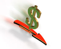 Economy down. Illustration of dollar sign, down arrow and 3D text Economy with motion blur. Conceptual image for the current failing economic crisis. Recession Royalty Free Stock Photo