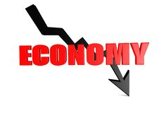 Economy down. A 3D rendered artwork with white background vector illustration
