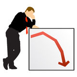 Economy down businessman sign Stock Images