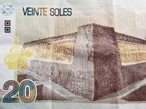 Approach to reverse side of a peruvian banknote of 20 soles, background and texture. Economy and finance, backdrop for trading and exchange announcements, tax stock photos