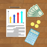 Economy finance document. Vector business paper document illustration Stock Images