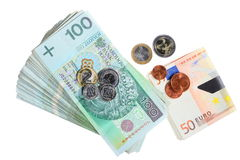 Economy and finance. Polish and euro banknote isolated Royalty Free Stock Images