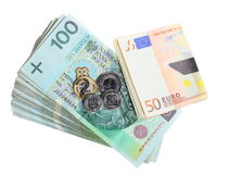 Economy and finance. Polish and euro banknote isolated Stock Image